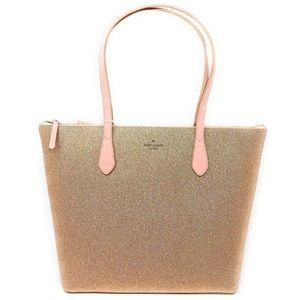 ♠️ Kate Spade Joeley Large Tote Rose Gold Glitter